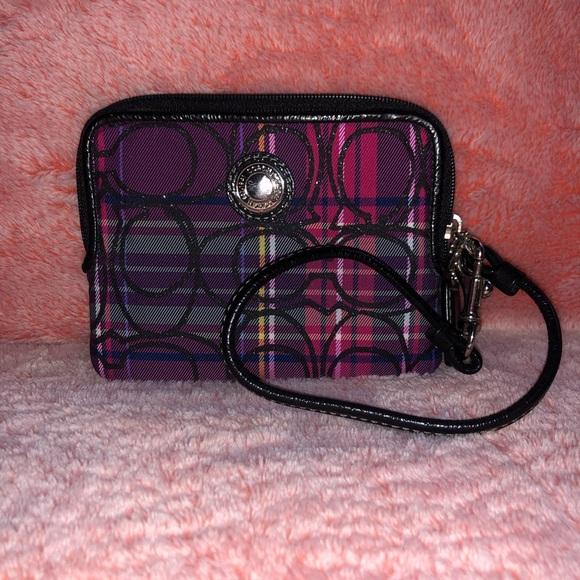 Coach Handbags - Coach Plaid CC Canvas Wristlet